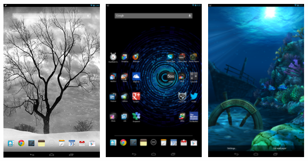 Here are some nice Live Wallpapers (Lonely Tree, Mystic Halo, Ocean HD)