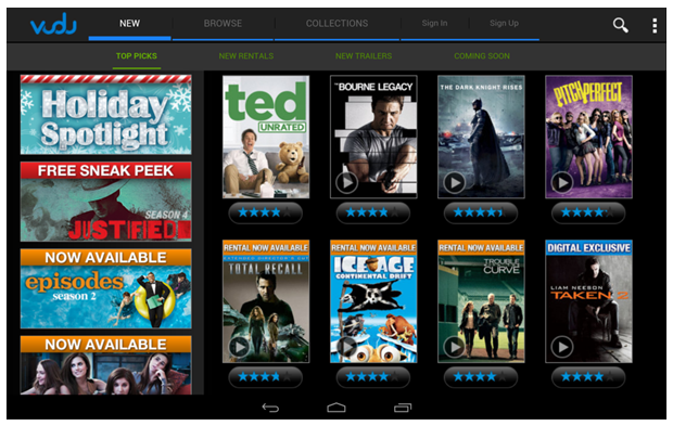 Stream full high-definition movies directly to your tablet using VUDU