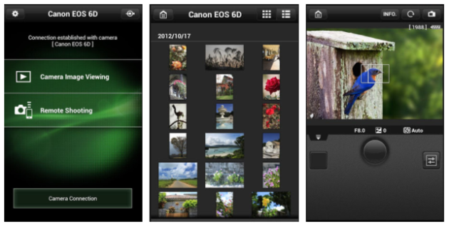Canon's EOS Remote running on a smartphone