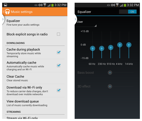 Notice how many more settings Google Music has on Android