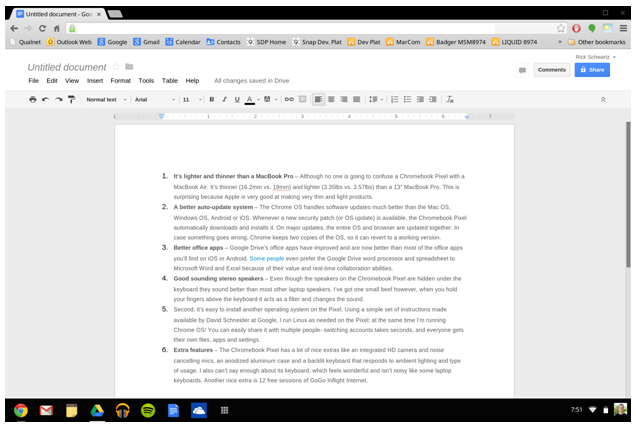 Can a chromebook pixel compete with a macbook pro for Google docs word 2013