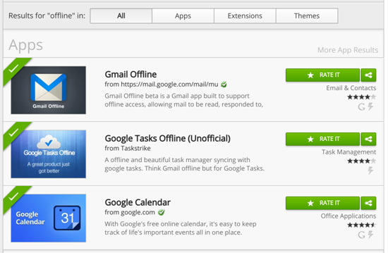 Only a limited number of Chrome apps work offline