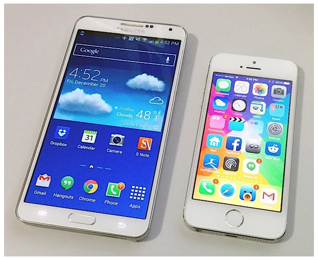 Size matters: Phones like the Samsung Galaxy Note 3 dwarf the iPhone 5s