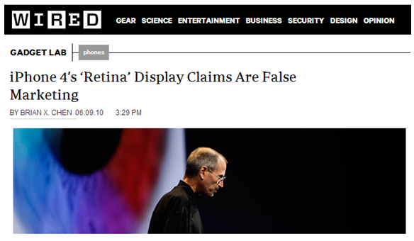 Experts immediately questioned Jobs' retina claims
